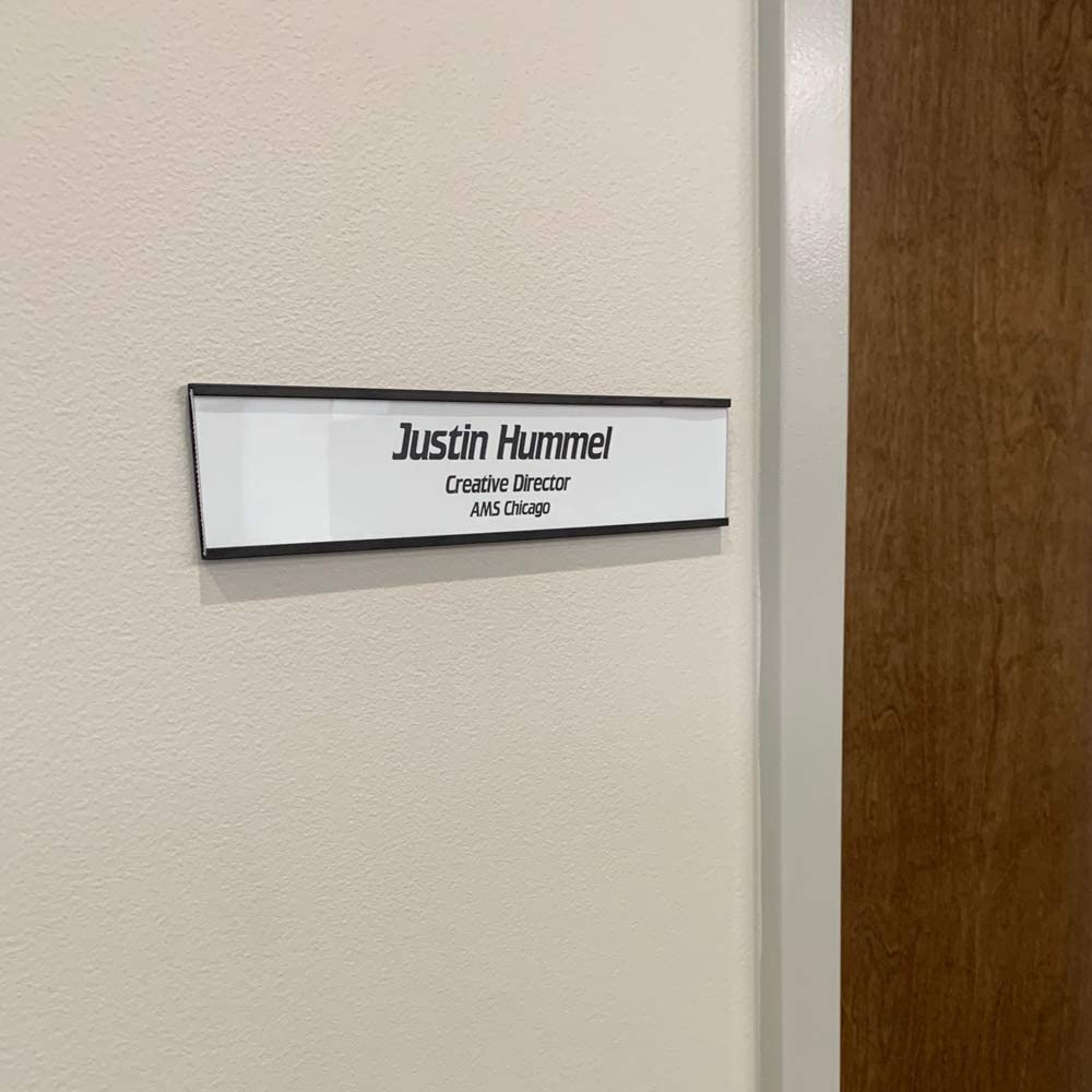 Wall or Door Nameplate Holder with Clear Plastic Inserts and Perforated Nameplate Inserts Pack of 10 Black, 8 x 2