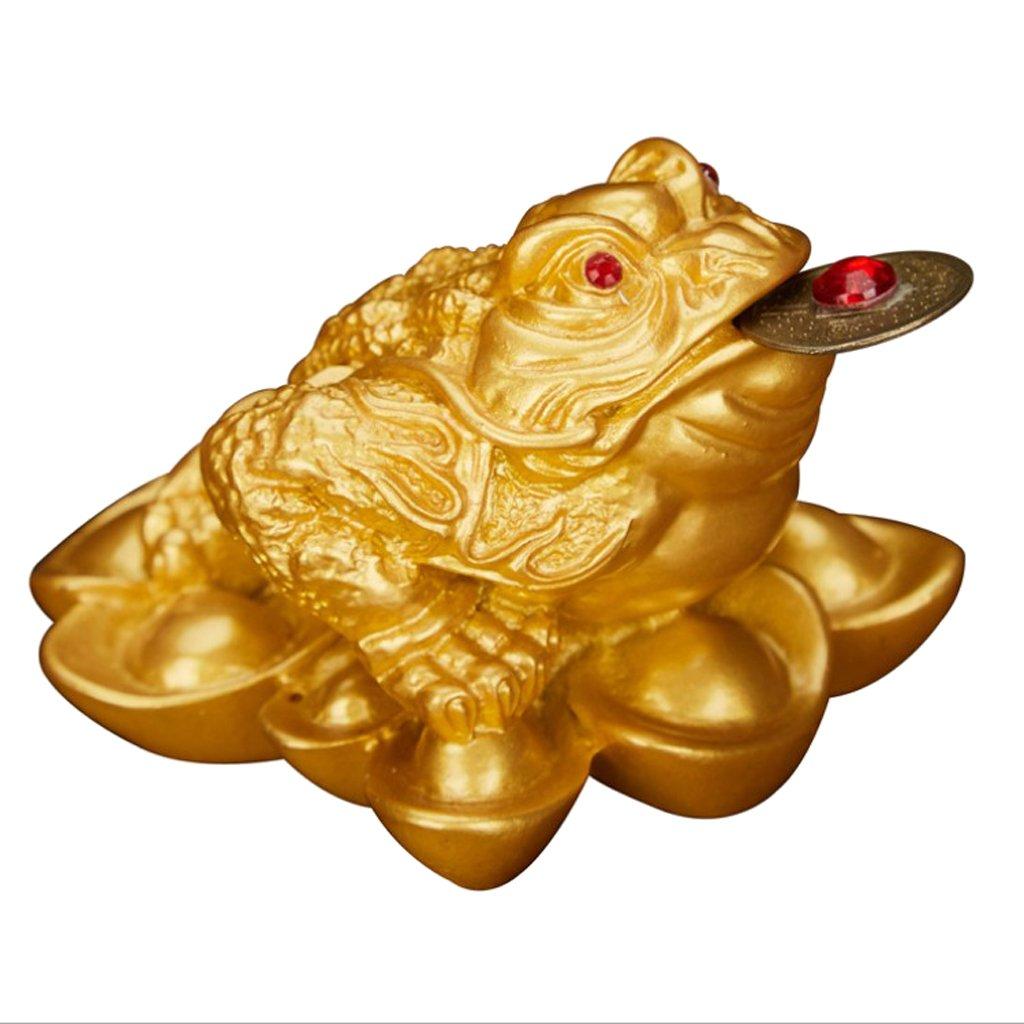 MagiDeal Feng Shui Rana Ornamento Lucky Fortune Salvadanaio Porta Moneta Oriental Cinese Soprammobili Decorazione Casa - # 1 5x4.5x3.8cm Oro