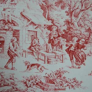 red toile fabric direct from france toile de jouy authentic french designer. Black Bedroom Furniture Sets. Home Design Ideas