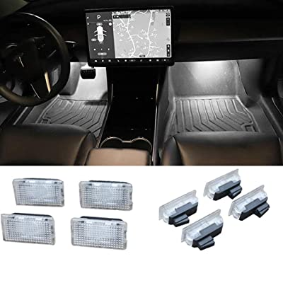Car Interior Car Door Light Upgrade Lighting Replacement Compatible Kit Glitter Lamp for Model 3 X S(4 pcs)(White): Automotive