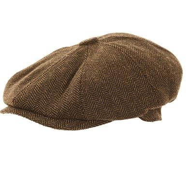 21e18fe59726 Dark Brown Herringbone Newsboy 8 Panel Baker Boy Tweed Flat Cap Mens Gatsby  Hat (58cm M Medium 58 cm): Amazon.co.uk: Clothing