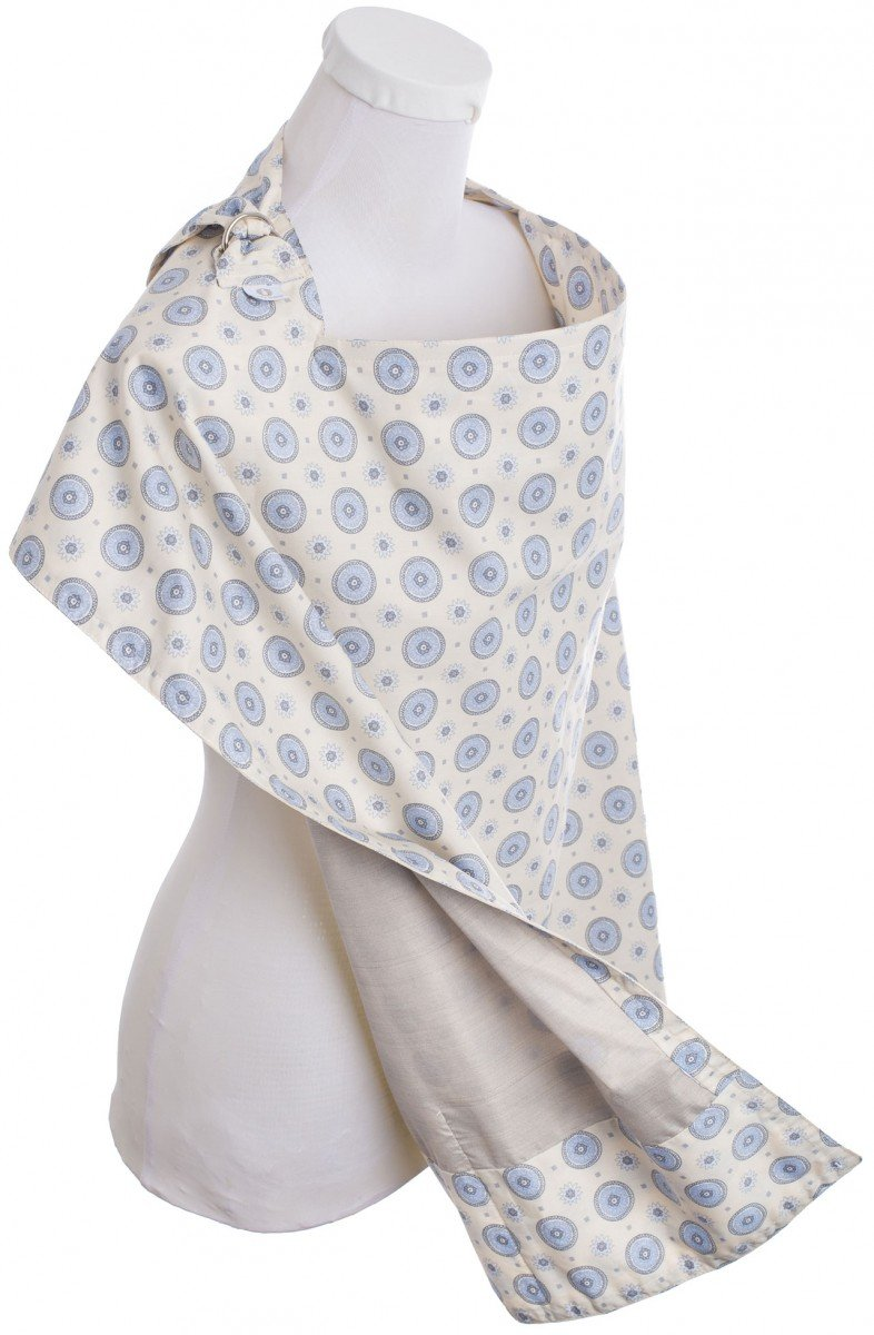 BELLY ARMOR Anti-Radiation Nursing Cover in Aster (Light Blue and Cream, 100% Cotton) | Radiation-shielding Nursing Cover | EMF Protection for Pregnancy, Fertility, Early Childhood NC.AS.07.13.00051