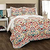 Discount Bedding Sets King Lush Decor 16T000187 Clara 3 Piece Quilt Set, King, Turquoise/Tangerine