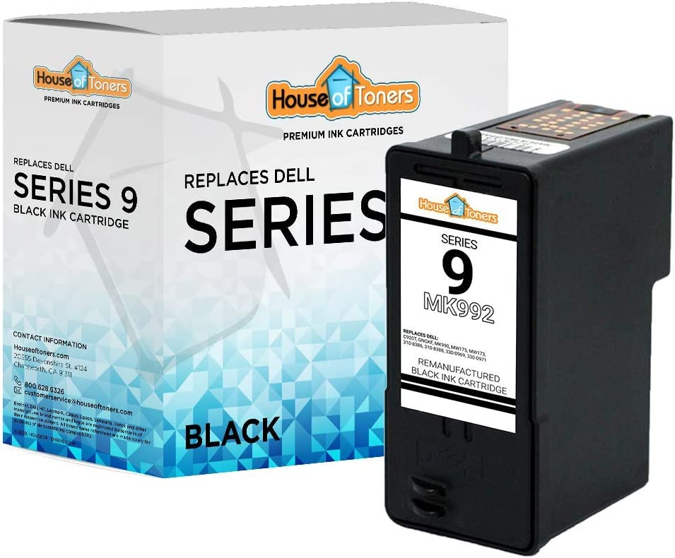 HouseOfToners Remanufactured Ink Cartridge Replacement for Dell Series 9 MK992 (1 Black)