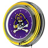 NCAA East Carolina University Chrome Double Ring Neon Clock, 14''