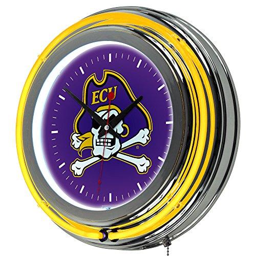 NCAA East Carolina University Chrome Double Ring Neon Clock, (Carolina Neon Wall Clock)