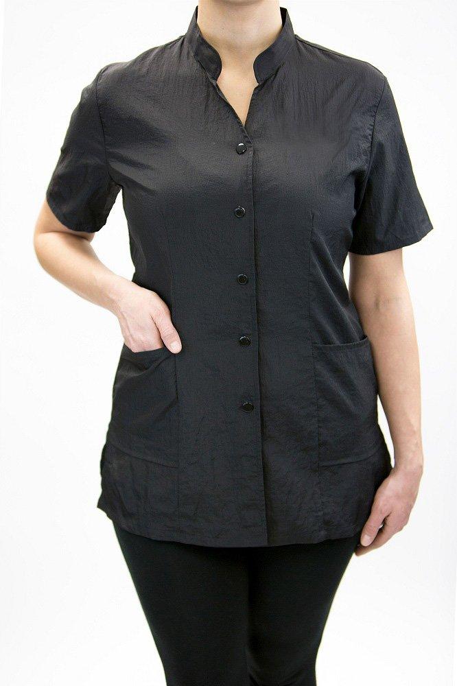 """Anna Jacket"", High Fashion Hair Stylist Nylon Uniform With Customized Name Embroidery by Charlene (XL, BLACK)"