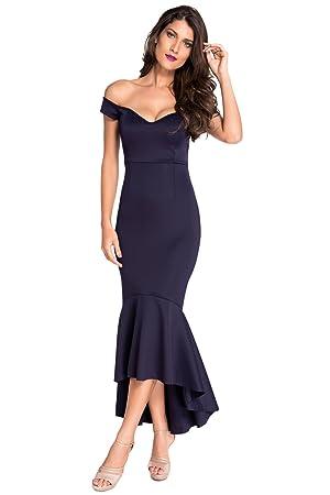 Secret Boutique Online Ltd Nuevo Azul Marino off-Shoulder sirena vestido de cóctel vestido largo