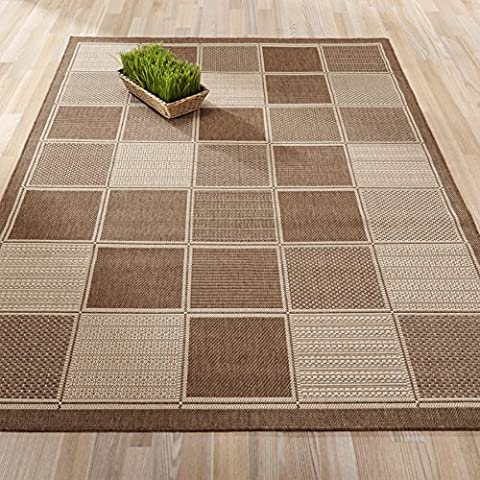 Ottomanson Jardin Collection Brown Contemporary Boxes Design Indoor/Outdoor Jute Backing Area Rug, 5'3