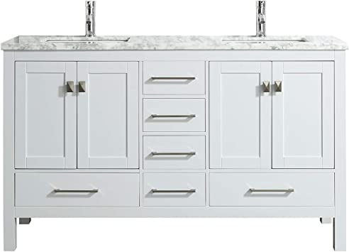 Eviva London 60 X 18 Inch White Transitional Double Sink Bathroom Vanity With White Carrara Marble Countertop And Undermount Porcelain Sinks Amazon Com