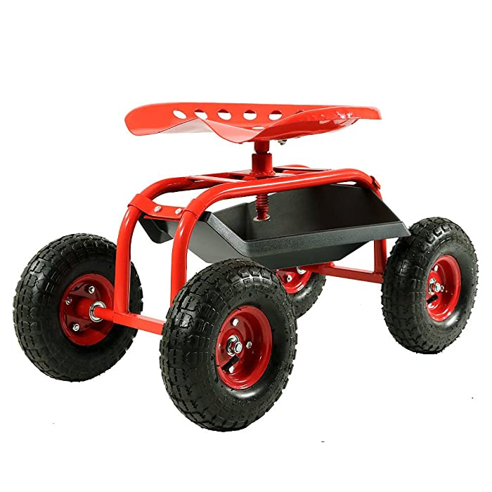 Sunnydaze Rolling Garden Cart Scooter with Wheels and Tool Tray, 360 Swivel Seat, Red