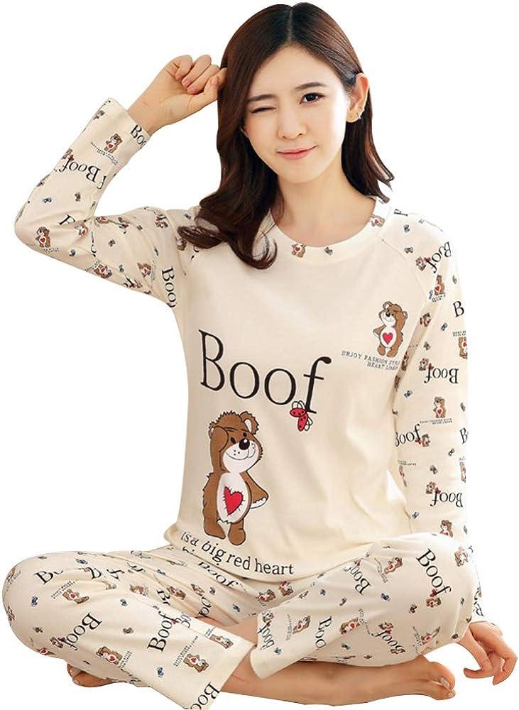 Qiao Nai Pijamas Mujeres Conjuntos de Dibujos Animados Oso Imprimir Suelta 2 Unidades Ropa de Dormir Damas Otoño Invierno Transpirable Algodón Tallas Grandes Loungewear (XL, Amor Oso): Amazon.es: Ropa y accesorios