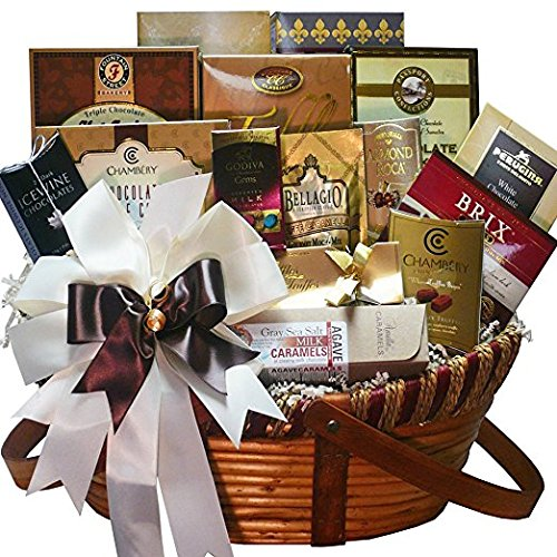 Chocolate Treasures Gourmet Food Gift Basket (Personalized Hot Chocolate)