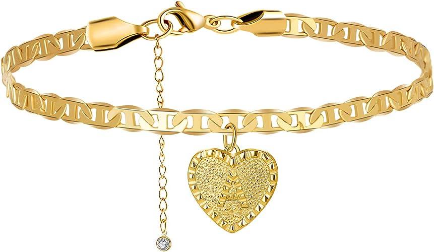 Gold plated Fashion bracelet Heart shaped charm bracelet Women/'s bracelet Heart bracelet.