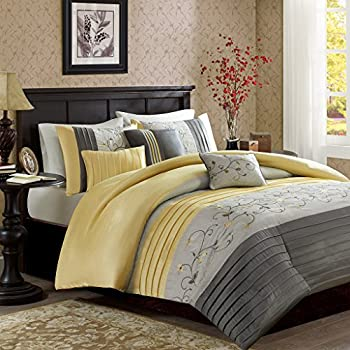 madison park belle yellow 6 piece embroidered duvet cover set full queen