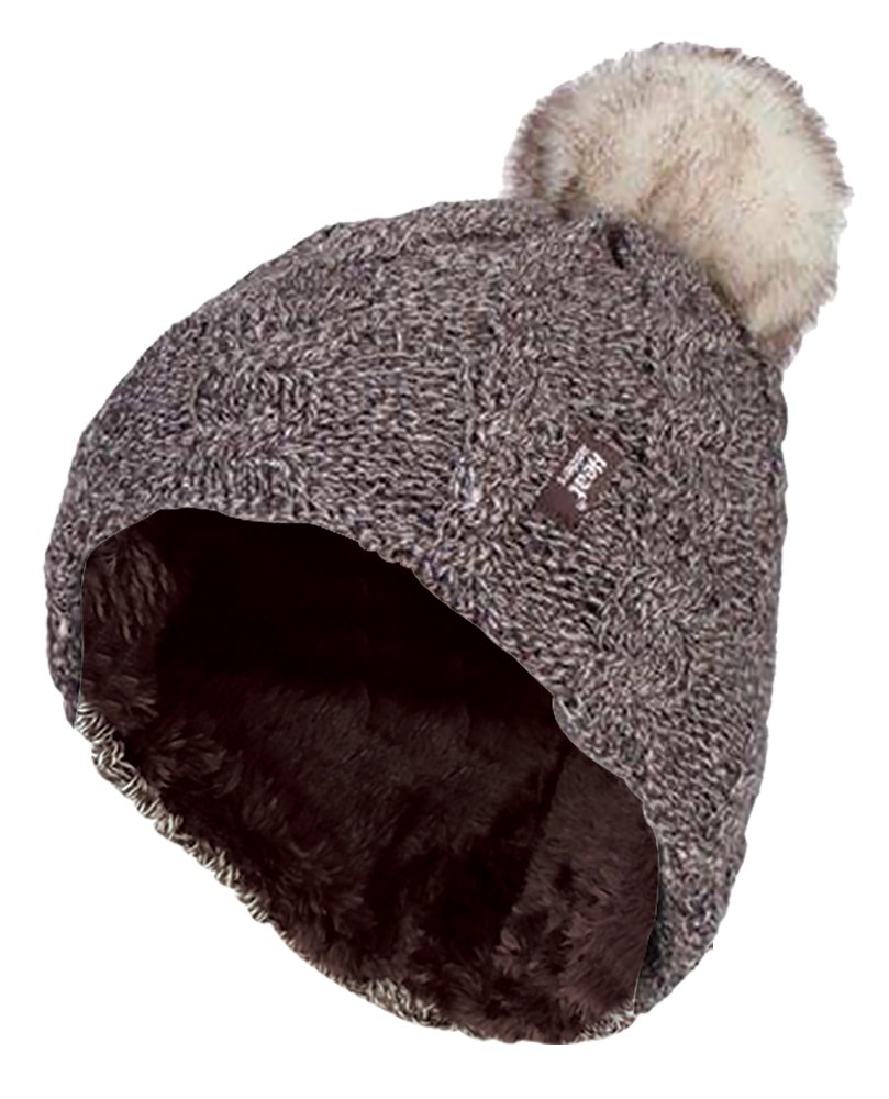 Heat Holders - Womens Thick Knit Thermal Winter Warm Beanie Hat with Pom Pom Black)