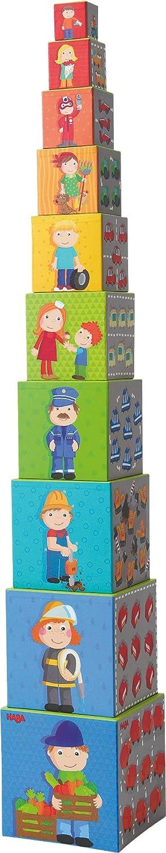 Stapelw/ürfel Flotte Flitzer HABA 301524 Spielzeug ab 12 Monaten Bausteine aus Pappe mit bunten Fahrzeug-Motiven Turm zum Stapeln aus 10 W/ürfeln