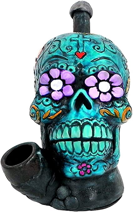 """GREEN COLOR w// BAG  FREE SHIPPING 4/"""" GLASS SKULL TOBACCO PIPE    LT"""