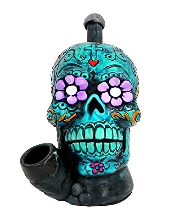 Turquoise Sugar Skull Smoking Pipe - Handmade Tobacco Pipe - Hand Pipe -  Smoking Bowl -