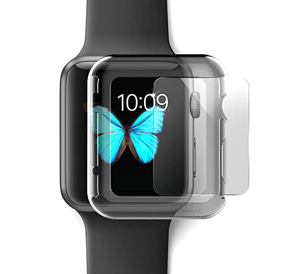 separation shoes f419a 9bc60 iCASEIT Apple Watch Case Screen Protector 42mm (Pack of 3) - Bumper Case  with Screen Protector for Full Protection for Apple Watch 42 mm - Clear x 3