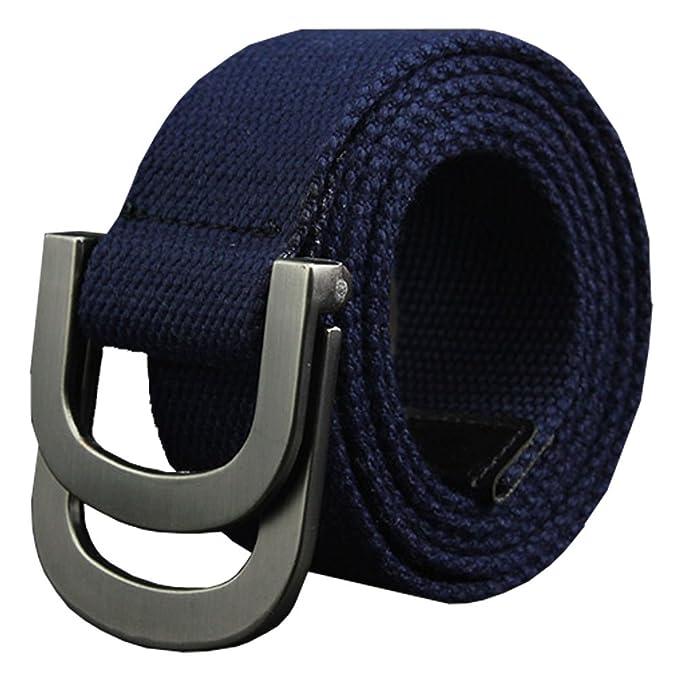 Maikun lienzo Web estilo militar cinturón con hebilla de metal doble anilla Z9fncF8