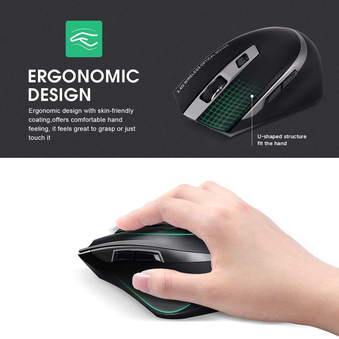 Ergon/ómico USB 2.4G Rat/ón Ordenador con 6 Botones Recargable silencioso Ahorro de energ/ía para computadora PC Windows Mac inphic Rat/ón inal/ámbrico port/átil Negro 800//1200//1600 dpi Ajustable