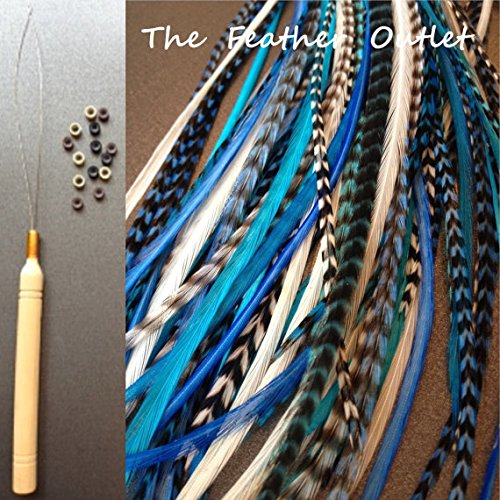 10 Hair Feathers and Beads, 100% Real Rooster Feather Hair Extensions, Long, Grizzly, Skinny, Aqua, Turquoise, BLUES KIT