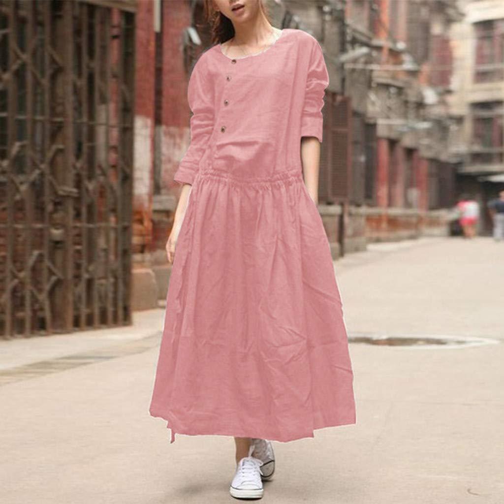 Peigen Women Cotton Casual Loose Maxi Dress Long Sleeve Irregular Hem Kaftan Party Long Dresses