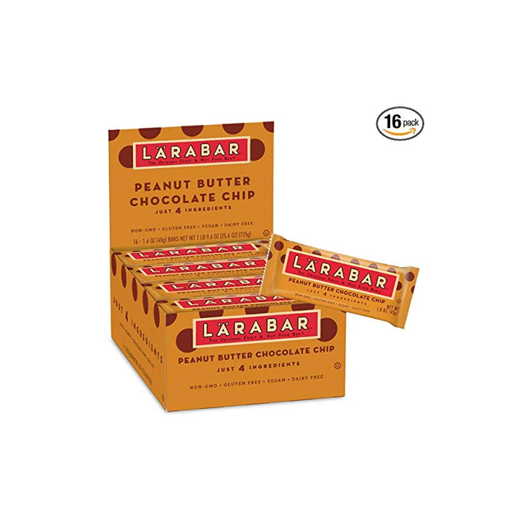 LÄRABAR Larabar Gluten Free Bar, Peanut Butter Chocolate Chip, 1.6 oz Bars (16 Count)(3 Pack) by LÄRABAR (Image #1)