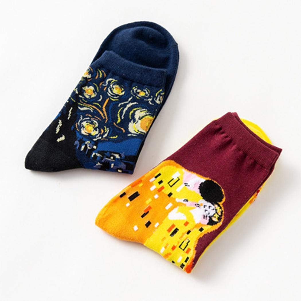Kiloid Women Men Fashion Cartoon Starry Sky Colorful Cotton Breathable Socks Tights
