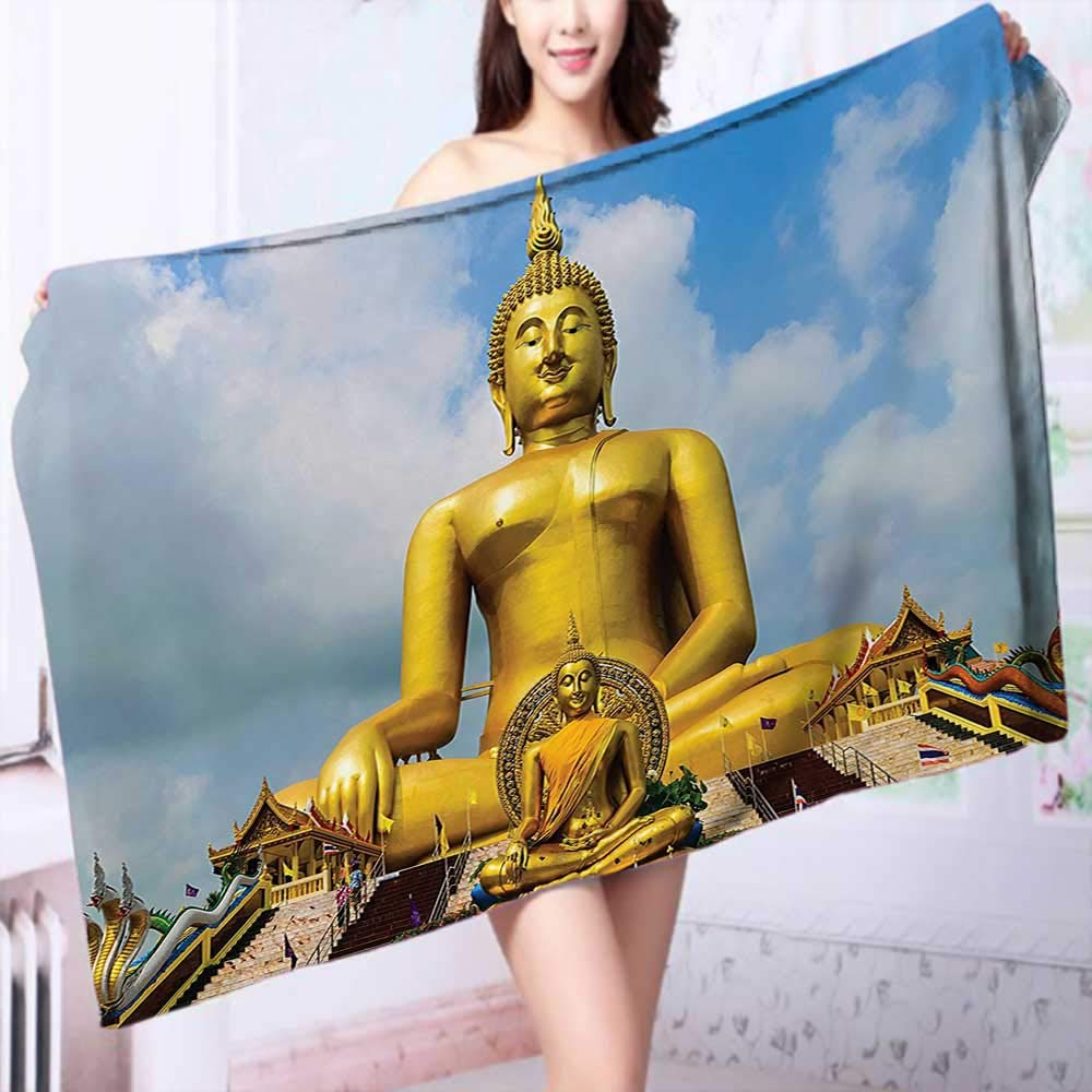 PRUNUS 100% Cotton Bath Towel The Biggest Golden Indian Statue at The Temple in Thai Oriental Sage Asian No Fading Multipurpose