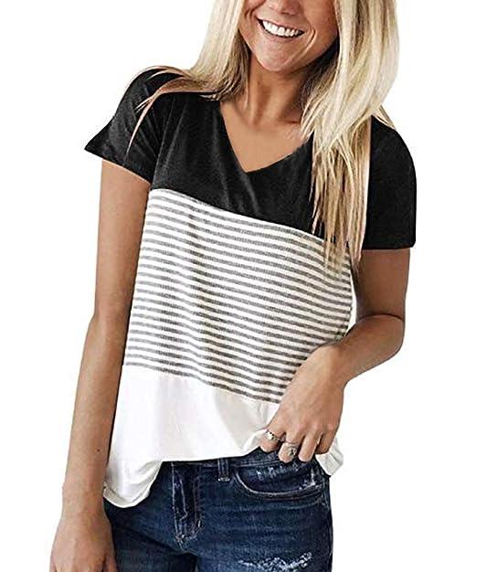 Amazon.com: VYNCS - Camiseta de manga corta con cuello en V ...