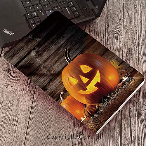 Case for Samsung Galaxy Tab S3 9.7 T820 T825 Slim Folding Stand Cover PU Case, Halloween,Grinning Expression Pumpkin Country House Squash Bunch on Wooden Planks Image,Brown Orange -