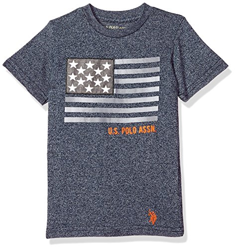 U.S. Polo Assn. Boys' Little Short Sleeve Fancy Crew Neck T-Shirt, American Flag Marled Navy, 5/6
