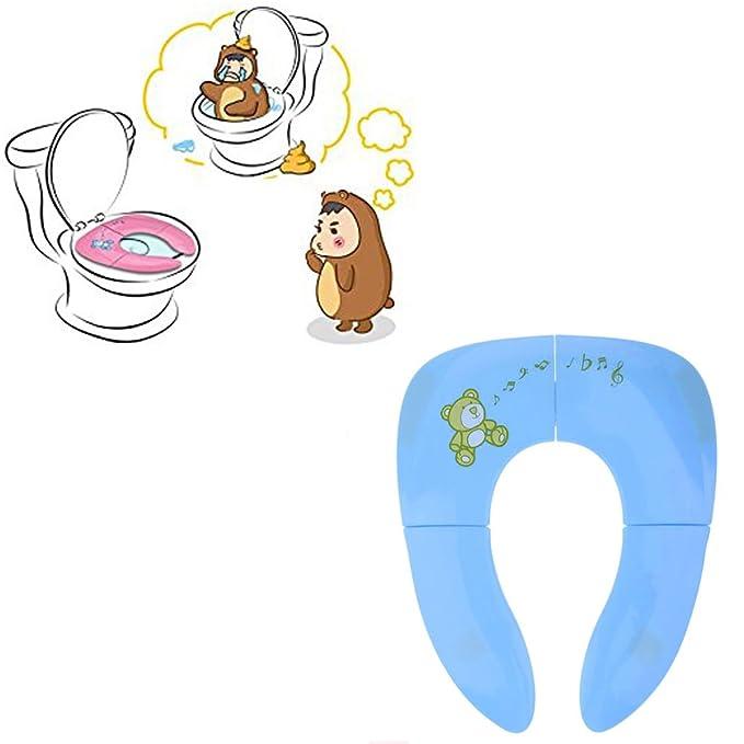 Folding Potty Seat, Pushingbest Tapa WC Plegable para Niños, Asiento Inodoro Reductor Infantil como Protector, Compacto y Portátil para Viajes, ...