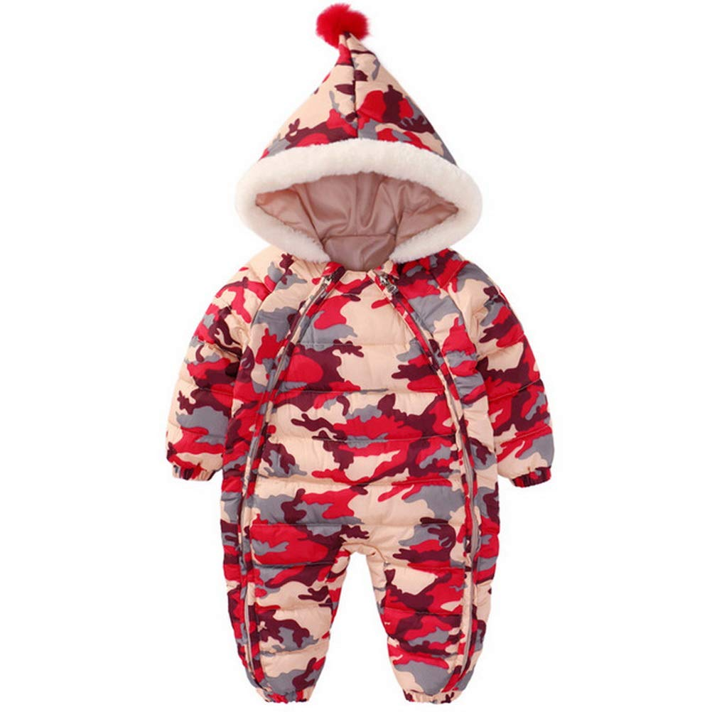 ARAUS Baby Camouflage Romper Girl Boy Hooded Zipper Jumpsuit Winter Clothes Outfit 6-36 Months