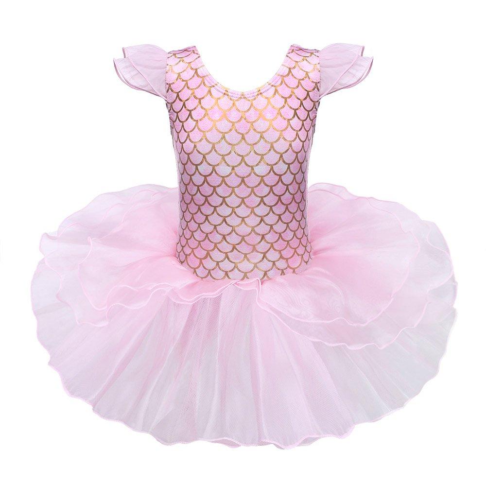 BAOHULU Toddlers Dancing Cosplay Tutu Ballet Leotard for Girls 3-12 Years B137_MermaidPink_L
