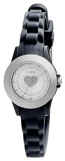 Pilgrim 70134-6108 - Reloj de cuarzo para mujer, con correa de goma, color negro: Amazon.es: Relojes