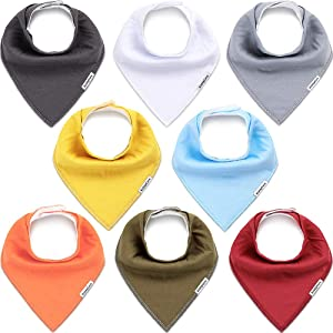 KiddyCare Baby Bibs 8 Pack - 100% Organic Cotton for Drooling and Teething - Soft & Absorbent Bandana Bibs for Baby Boys and Girls - Unisex Baby Shower Gift Set