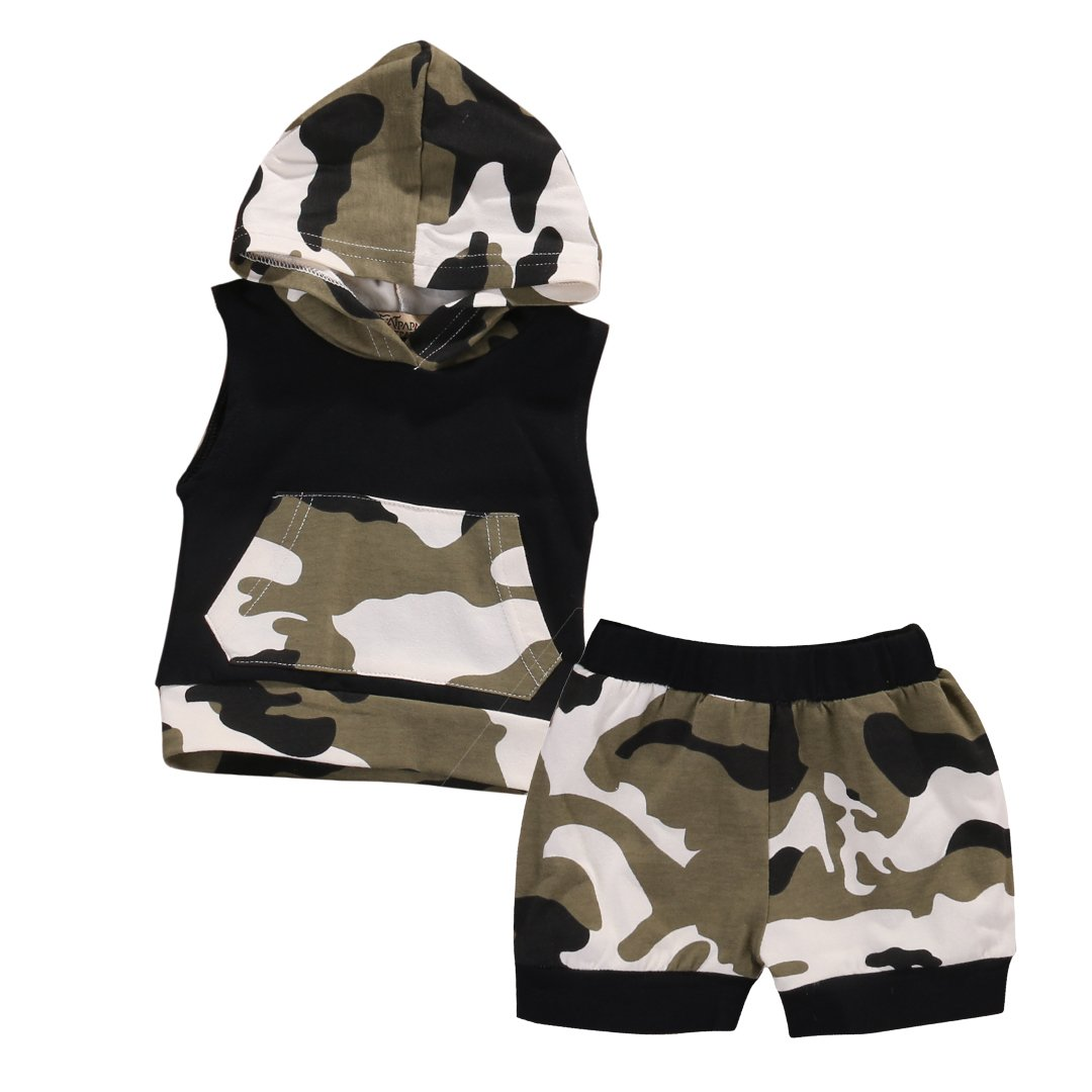 Emmababy Baby Boys Girls 2pcs Outfit Camo Hooded Vest T Shirt Tops with Pocket+ Shorts Set
