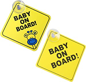Pengxiaomei Baby on Board Car Warning, 2 PCS Baby On Board Warning Signs Baby on Board Sticker Sign for Car Warning with Suction Cups