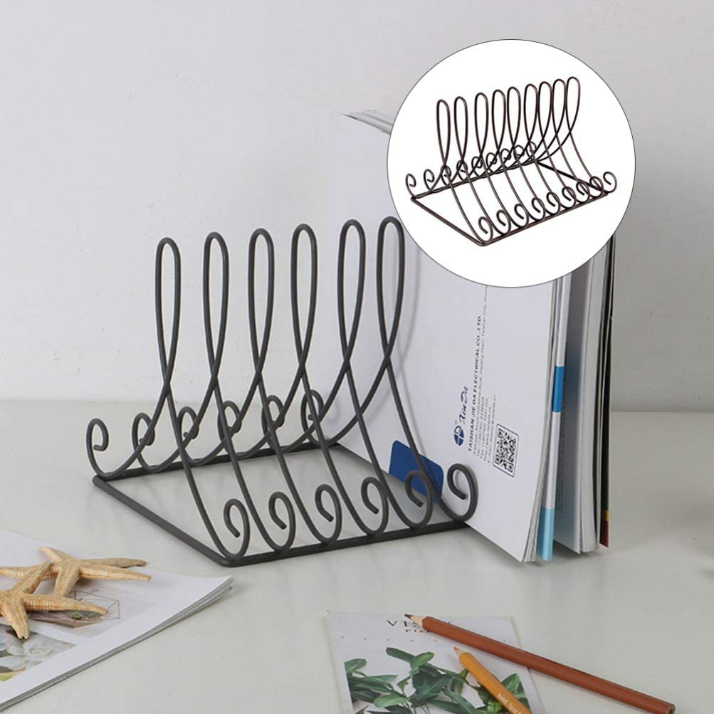 IMIKEYA Iron Wire Desktop File Folder Organizer Metal Doucument Letter Holder Magazine Book Organizer for Home Office School Black