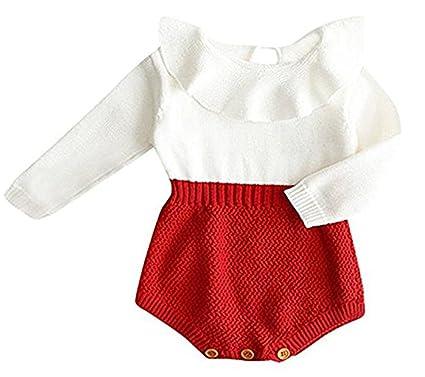 0499650900fc Amazon.com  HRIUYI Baby Girls Sweet Knitted Fleece Romper Long ...