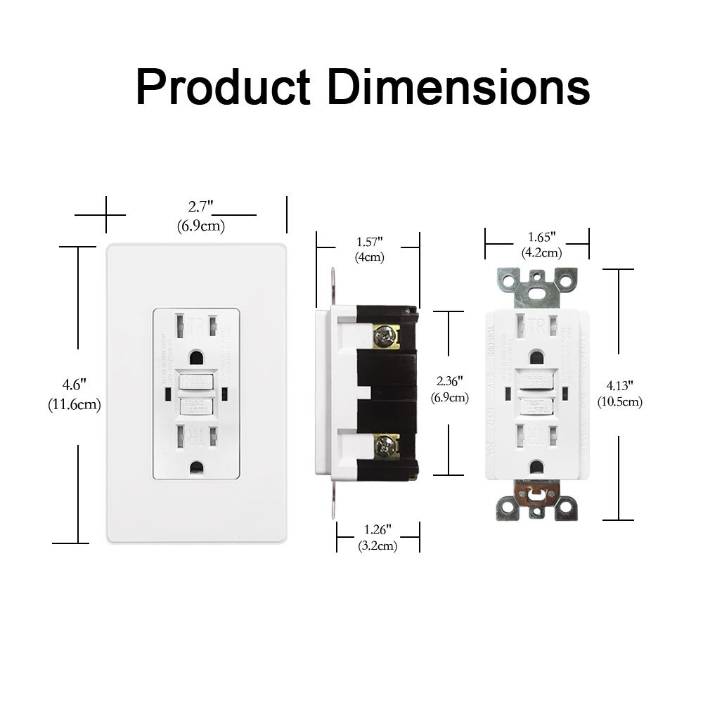 [10 Pack] BESTTEN 15A Dual Indicator Self Test GFCI Receptacle, 15A/125V/1875W, Tamper Resistant Outlet, 2 Wall Plates and Screws Included, Auto-Test Function, UL Certified, White by BESTTEN (Image #5)