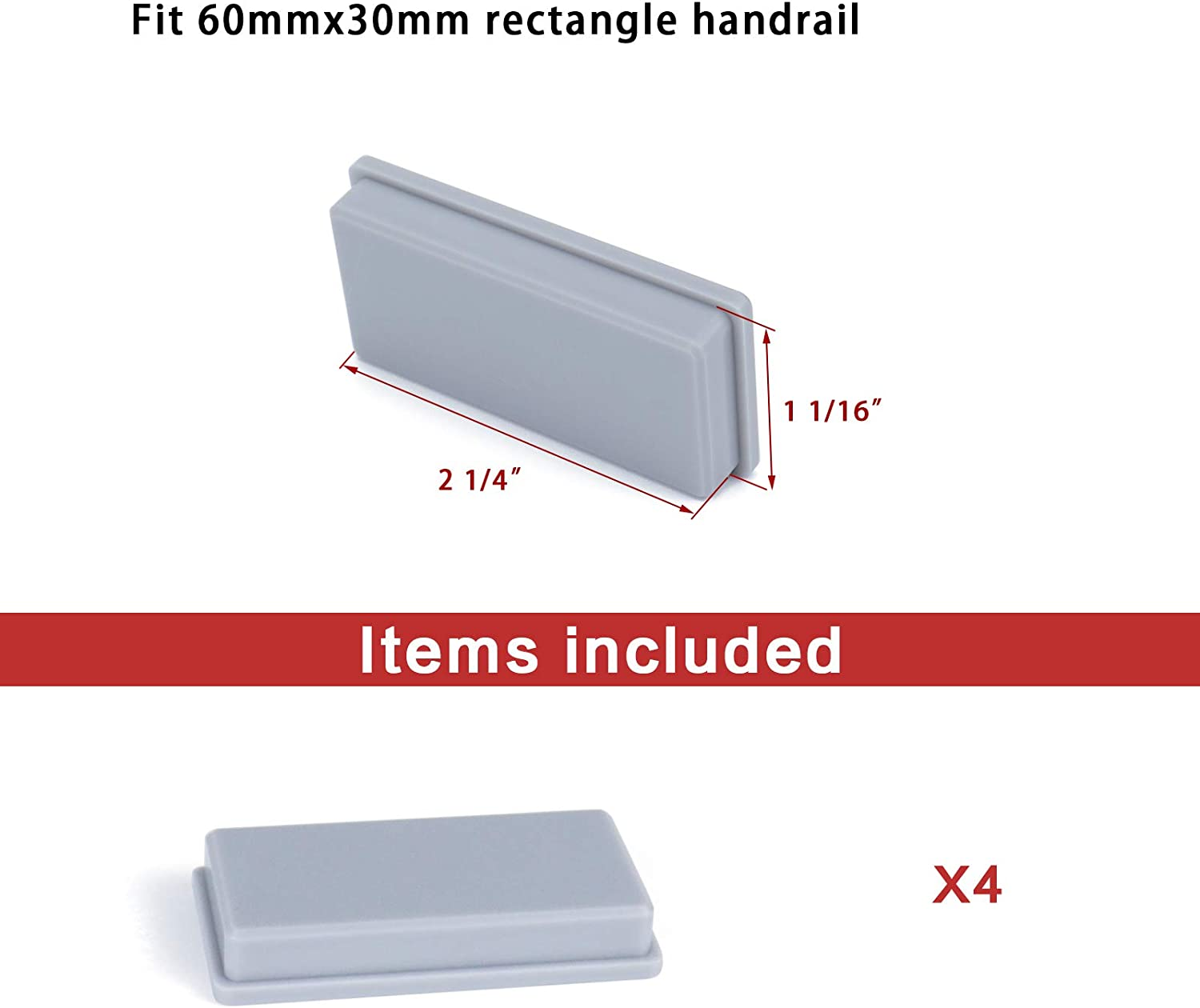 Fit 60x30mm Rectangle Steel Handrail Muzata Deck Stair Railing Handrail Fitting Grey Plastic End Cap Cover for Indoor Outdoor Metal Rectangle Top Rail HA12 PG1 4 Pack