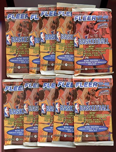 1997-98 Fleer NBA Basketball Factory Sealed Packs (10) Factory Sealed Packs - 110 Cards! Loaded with ROOKIES & Inserts! Look for Rookies of Tim Duncan & RARE Insert Cards including all the Top NBA Picks from 1997-98 !