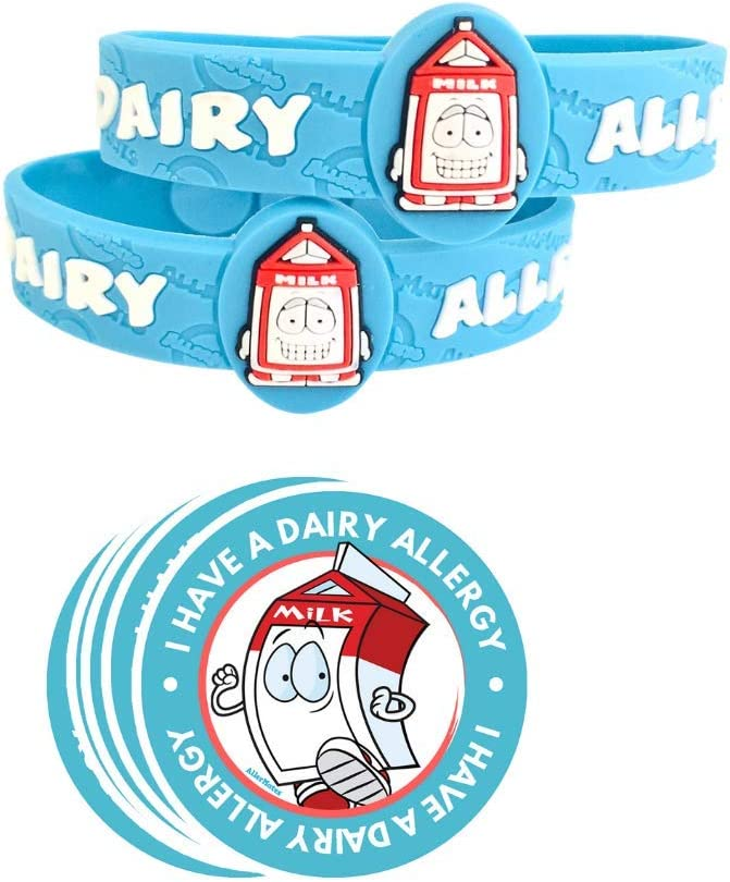 AllerMates Deluxe Kids Medical Health and Safety Bundle Including Dairy Medic Alert Allergy Awareness Bracelet (2 Pack), and 2
