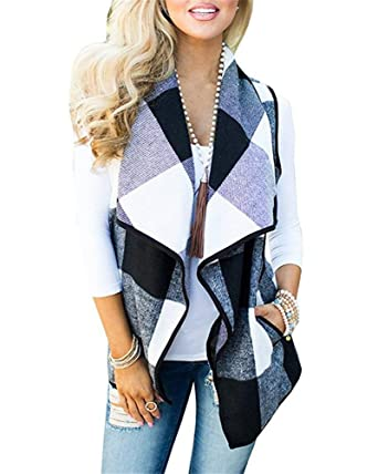484496c98be0d Rvshilfy SocoToo Women s Color Block Lapel Open Front Sleeveless Plaid Vest  Cardigan with Pockets (Black