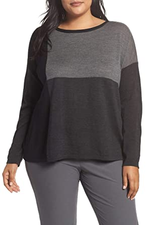 b4c6cac741 Eileen Fisher Women s Plus-Size Bateau-Neck Colorblock Boxy Sweater  (Charcoal