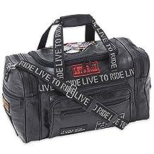 Diamond Plate? Rock Design Genuine Leather LIVE TO RIDE Tote Bag